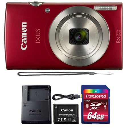 Canon Powershot Ixus 185 / ELPH 180 20MP Compact Digital Camera Red with 32GB Memory