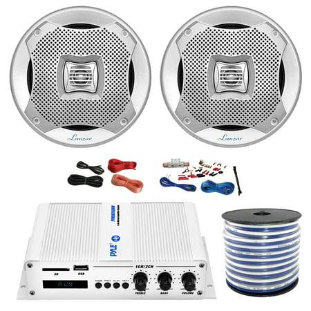 Pyle PFMRA350BW 2-Channel Bridgeable 200 Watts RMS Marine Amplifier, 2x Lanzar AQ5CXS 5.25