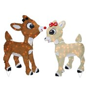 32 rudolph the red nosed reindeer and clarice outdoor christmas decoration - Christmas Reindeer Decorations