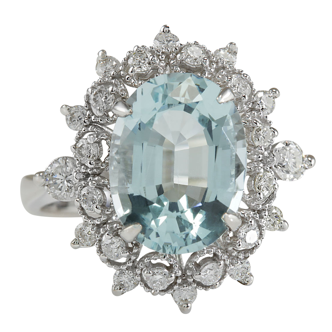 4.48CTW Natural Aquamarine And Diamond Ring In 14K Solid White Gold by