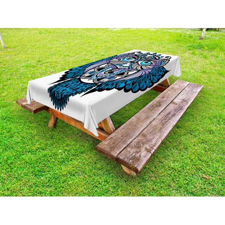 Tribal Outdoor Tablecloth, Owl Bird Animal with Paisley Tattoo Design with Big Blue Eyes Lashes Print, Decorative Washable Fabric Picnic Table Cloth, 58 X 84 Inches,Navy Blue and Purple, by Ambesonne