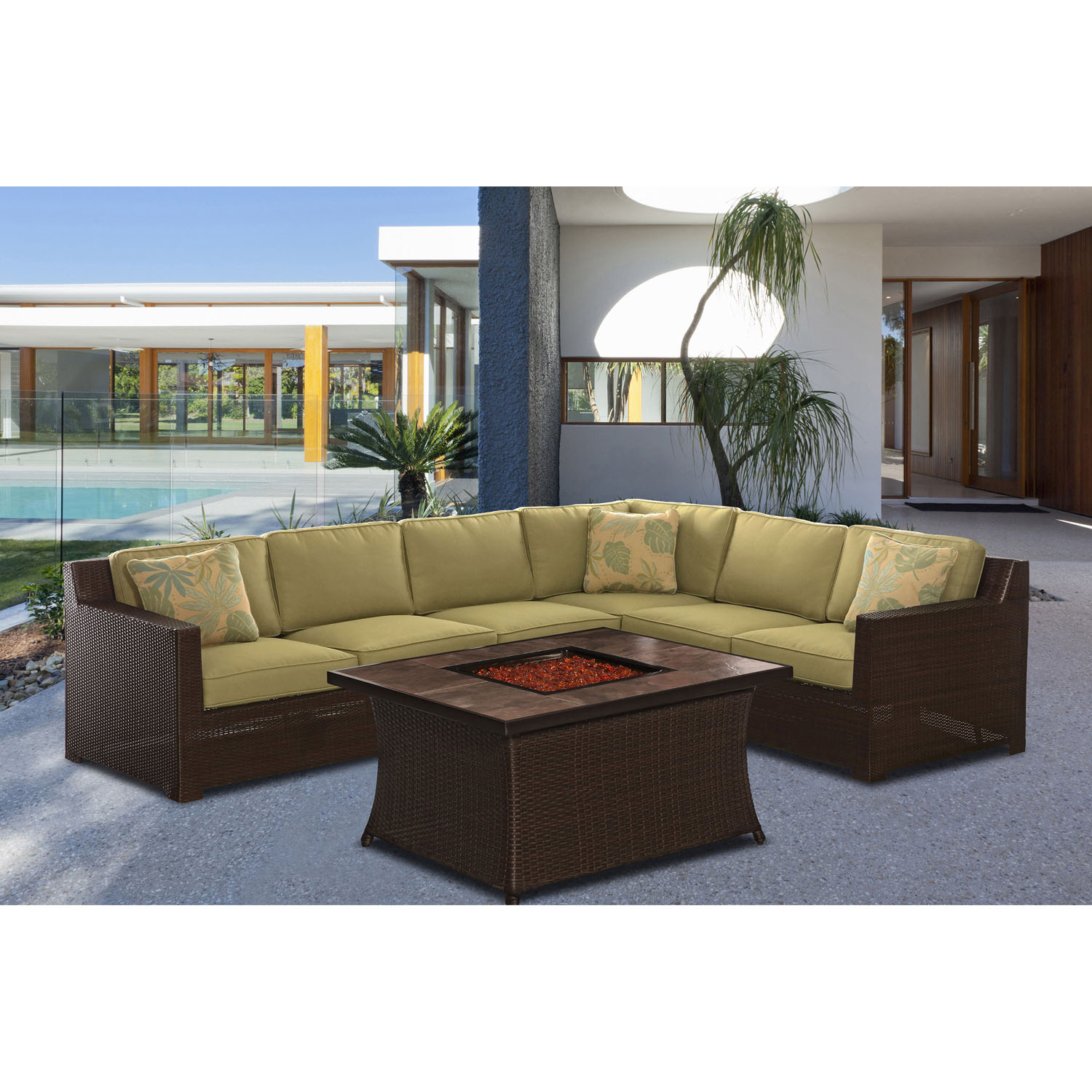 Hanover Metropolitan Woven Fire Pit Lounge Set with Faux-Stone Tile Top