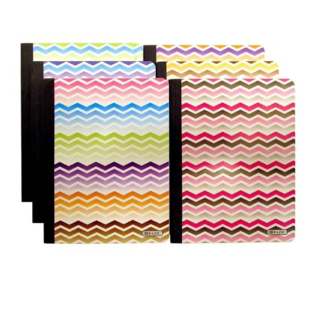Non Ecc Cl5 Notebook - Set of 6 Chevron Composition Notebooks (100 Page, College Ruled, Non-Punched, 9.75