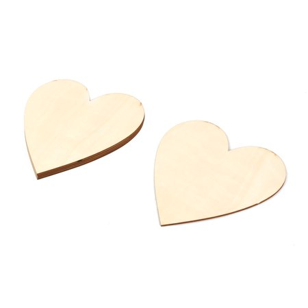 Unique Bargains Home Wooden Love Heart Shaped Wedding DIY Craft Decor Beige 150mm x 150mm 5 Pcs](Dead Hearts Wedding)