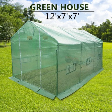 Portable Backyard Large Greenhouse Green Garden Hot House PE Cover 12\'x7\'x7\'