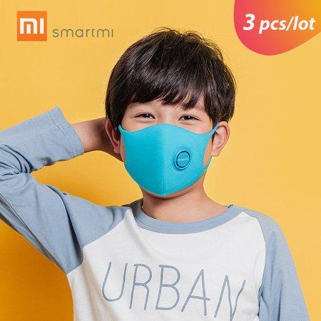 3pcs/lot Xiaomi Smartmi Anti-Pollution Face Mask For Kids Air Sport Block Respirators PM2.5 Haze Anti-haze Adjustable Ear Hanging 3D Design Comfortable with Ventilating
