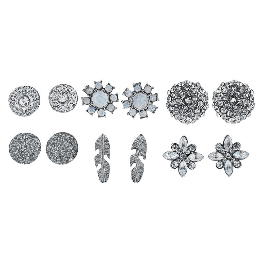 Lux Accessories 6PC Cute Flower Floral Silvertone Opal Earrings Multi Earrings by Lux Accessories
