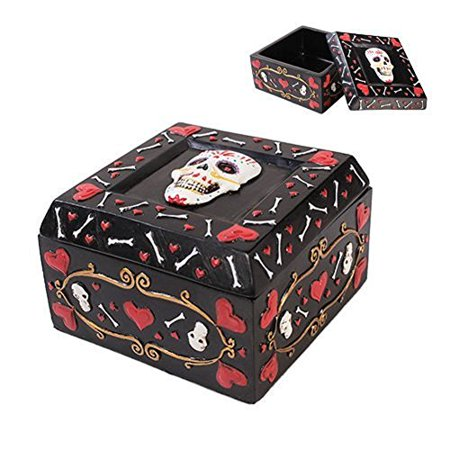 Pacific Trading Giftware Day Of The Dead Black Jewelry/ Trinket Candy and Offering Bowl Box Height 2.5'' Figurine Made of Polyresin
