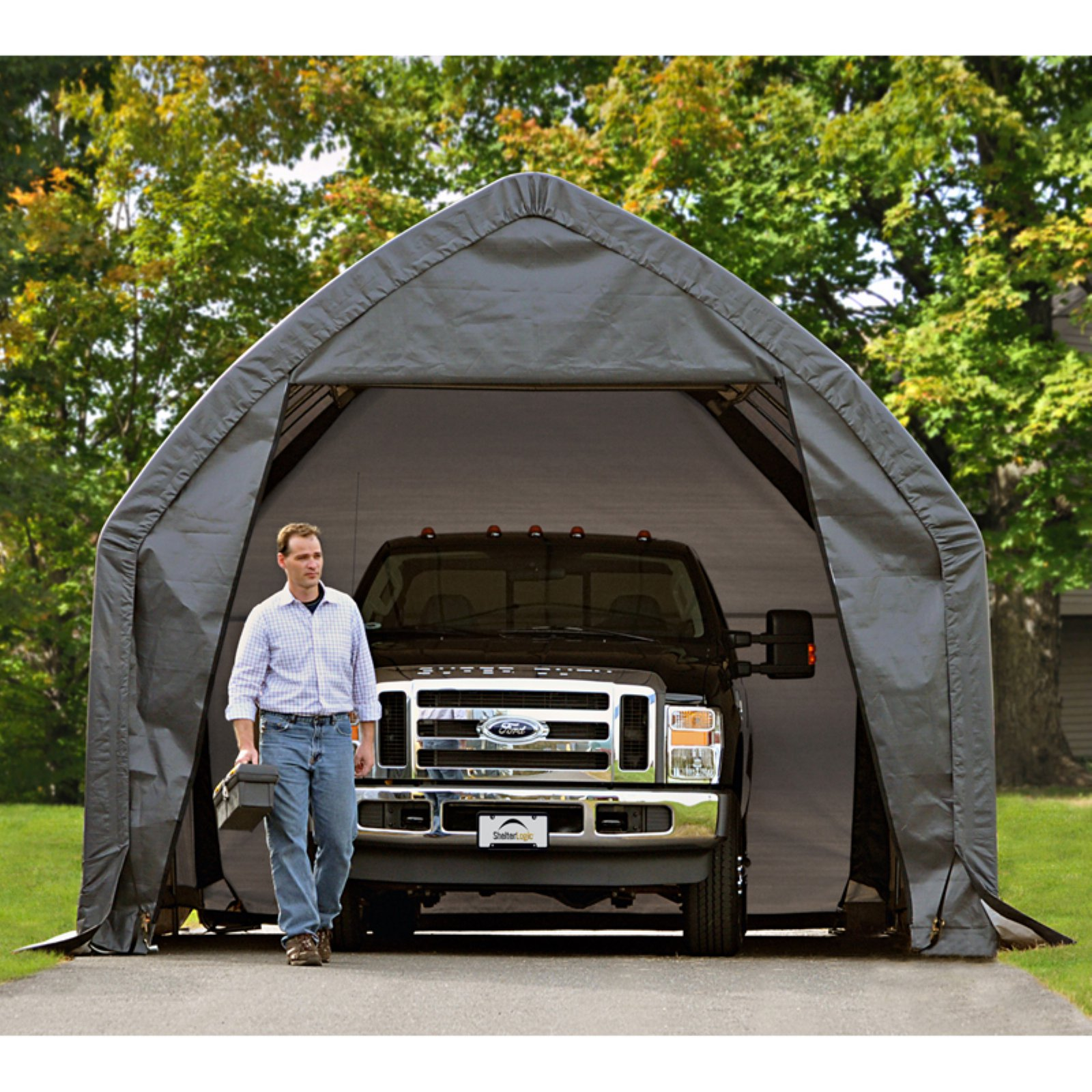 ShelterLogic Garage-In-A-Box 13x20' x 12'Peak Style for SUV/Truck, Gray