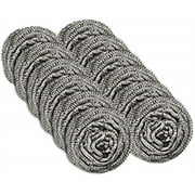 12 pack stainless steel scourers by scrub it - steel wool scrubber pad used for dishes, pots, pans, and ovens. easy scouring for tough kitchen cleaning.