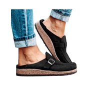 Womens Walking Buckle Summer Casual Flat Comfort Slip-On Platform Shoes