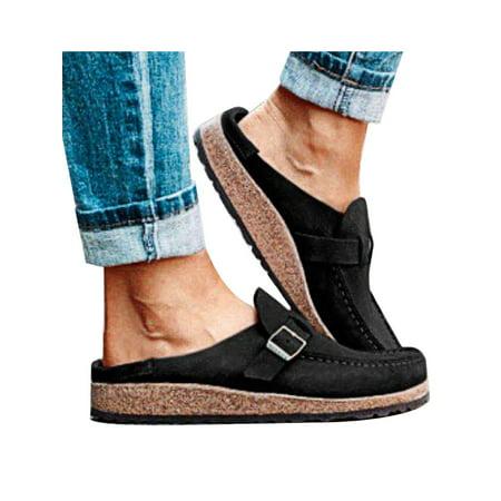Womens Walking Buckle Summer Casual Flat Comfort Slip-On Platform Shoes
