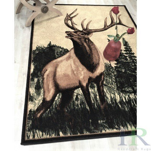 Lodge, Cabin Nature and Animals Area Rug - Nature Pattern Cabin Area Rug - Abstract,Beige/Green-Deer in Wilderness