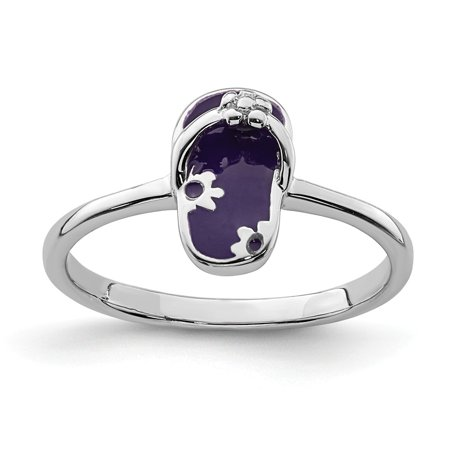 925 Sterling Silver Rhodium-plated for boys or girls Enameled Purple Flip Flop Ring - Ring Size: 3 to (Boy Or Girl Wedding Ring On String)