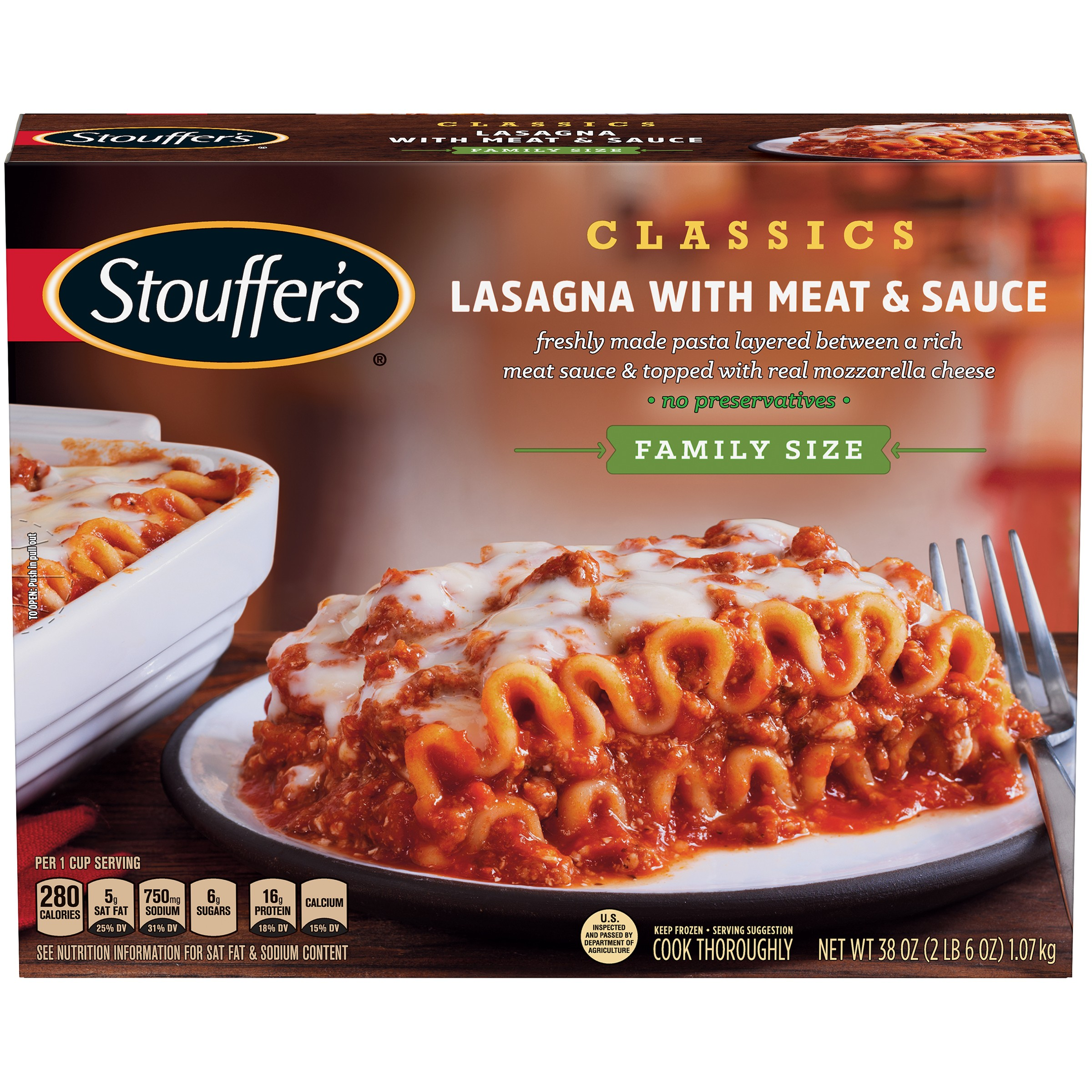 STOUFFER'S Family Size Lasagna with Meat & Sauce 38 oz Box