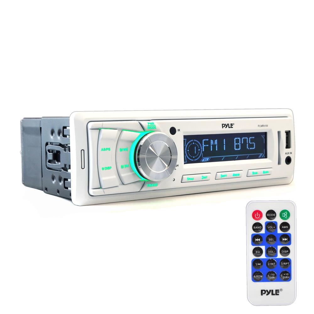 PYLE PLMR88W - Marine Stereo Headunit Receiver - 12v Single DIN Style Digital Boat In dash Radio System with MP3, USB, SD, AUX, RCA, AM FM Radio (White)