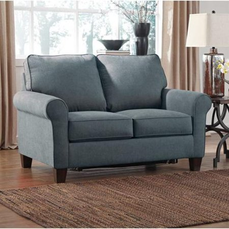 Zeth Collection 2710137 58 Twin Sofa Sleeper with Fabric Upholstery Rolled Arms Tapered Legs and Contemporary Style in Denim