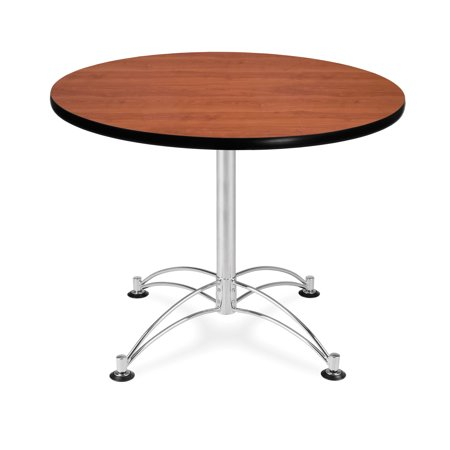 """OFM Model LT36RD 36"""" Multi-Purpose Round Table with Chrome-Plated Steel Base, Cherry"""