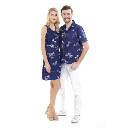 Hawaiian Dresses Shirts (Couple Matching Hawaiian Luau Cruise Outfit Shirt Dress Classic Navy Men XL Women)