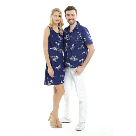 Couple Matching Hawaiian Luau Cruise Outfit Shirt Dress Classic Navy Men XL Women - Homecoming Couples Outfits