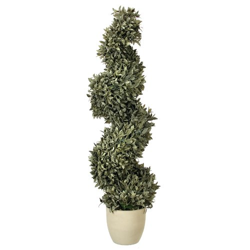 Charlton Home Plastic Dusty Bayleaf Spiral Topiary in Pot