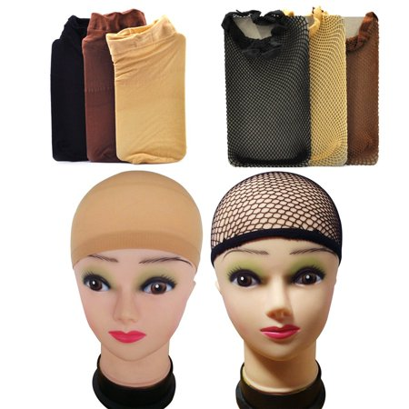 Lady Up Wig Caps Mesh Node Nets for Women in Neutral Nude Beige, Black and Brown, 6 Pairs