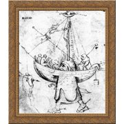 The Ship of Fools in Flames 20x20 Gold Ornate Wood Framed Canvas Art by Bosch, Hieronymus