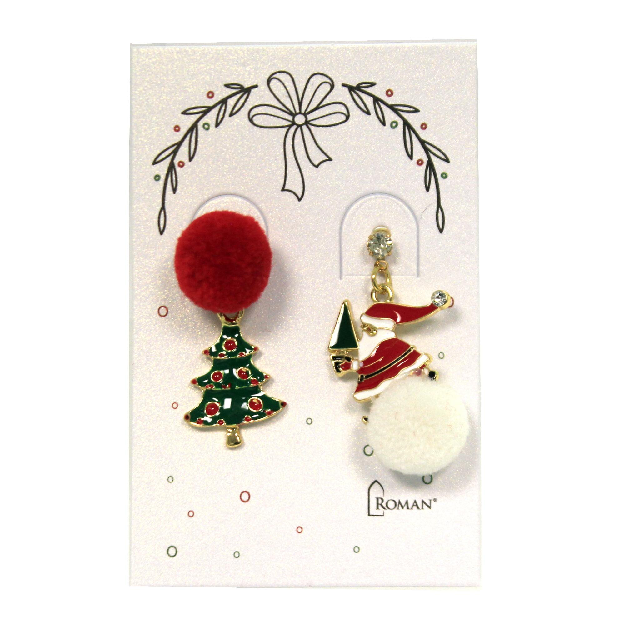 Jewelry Jewelry Pom Pom Christmas Earring Post Snowman Tree Wreath Santa 13738 Santa Walmart Com Walmart Com