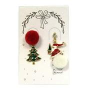 Jewelry Pom Pom Christmas Earring Post Snowman Tree Wreath Santa 13738 Santa