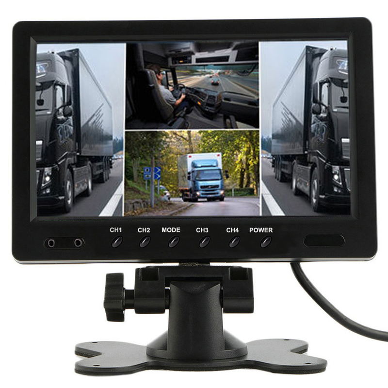 """Podofo 9"""" TFT LCD HD 12V 24V Split Quad Monitor Car Rear View"