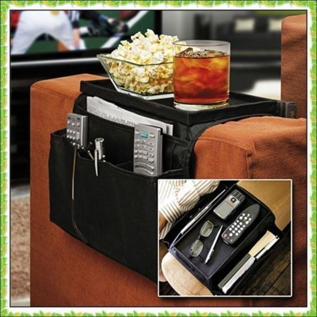 Sofa Or Chair Arm Rest Store Organiser Unusual Novelty Gadget With Six Built-in Compartments And A Table Top Tray Perfect Gift ()