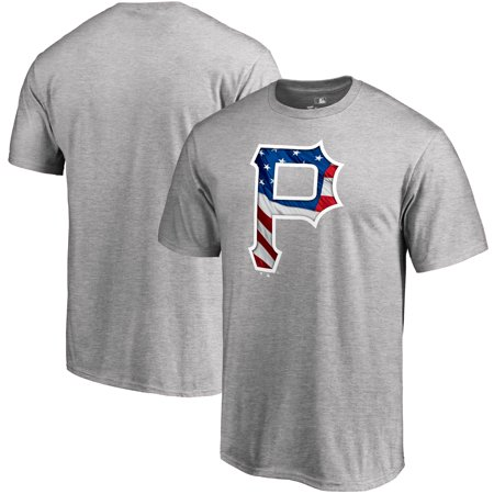 Pittsburgh Pirates Fanatics Branded 2019 Stars & Stripes Banner Wave Logo T-Shirt - Heather -