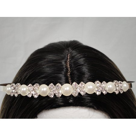 Charmed Princess Silver Rhinestone Headband Faux Pearl; Wedding, Sweet - Sweet 16 Headband