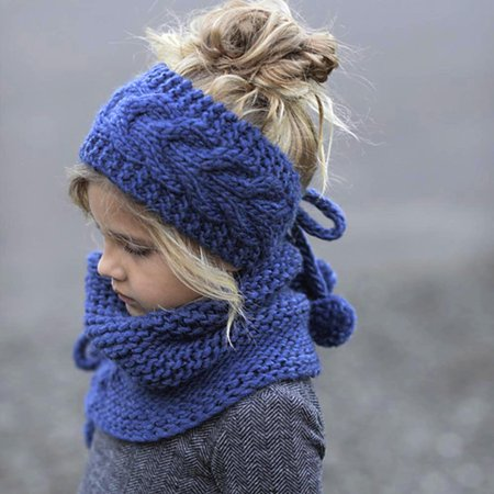 Winter Wool Knitted Handmade Hats Baby Girls Shawls Hooded Cowl Beanie Caps ()