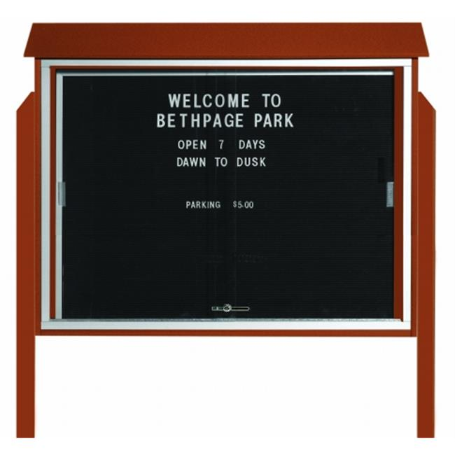 Aarco Products  Inc. PLDS3645LDPP-5 Cedar Sliding Door Plastic Lumber Message Center with Letter Board - Posts Included - 36 in.H x 45 in.W