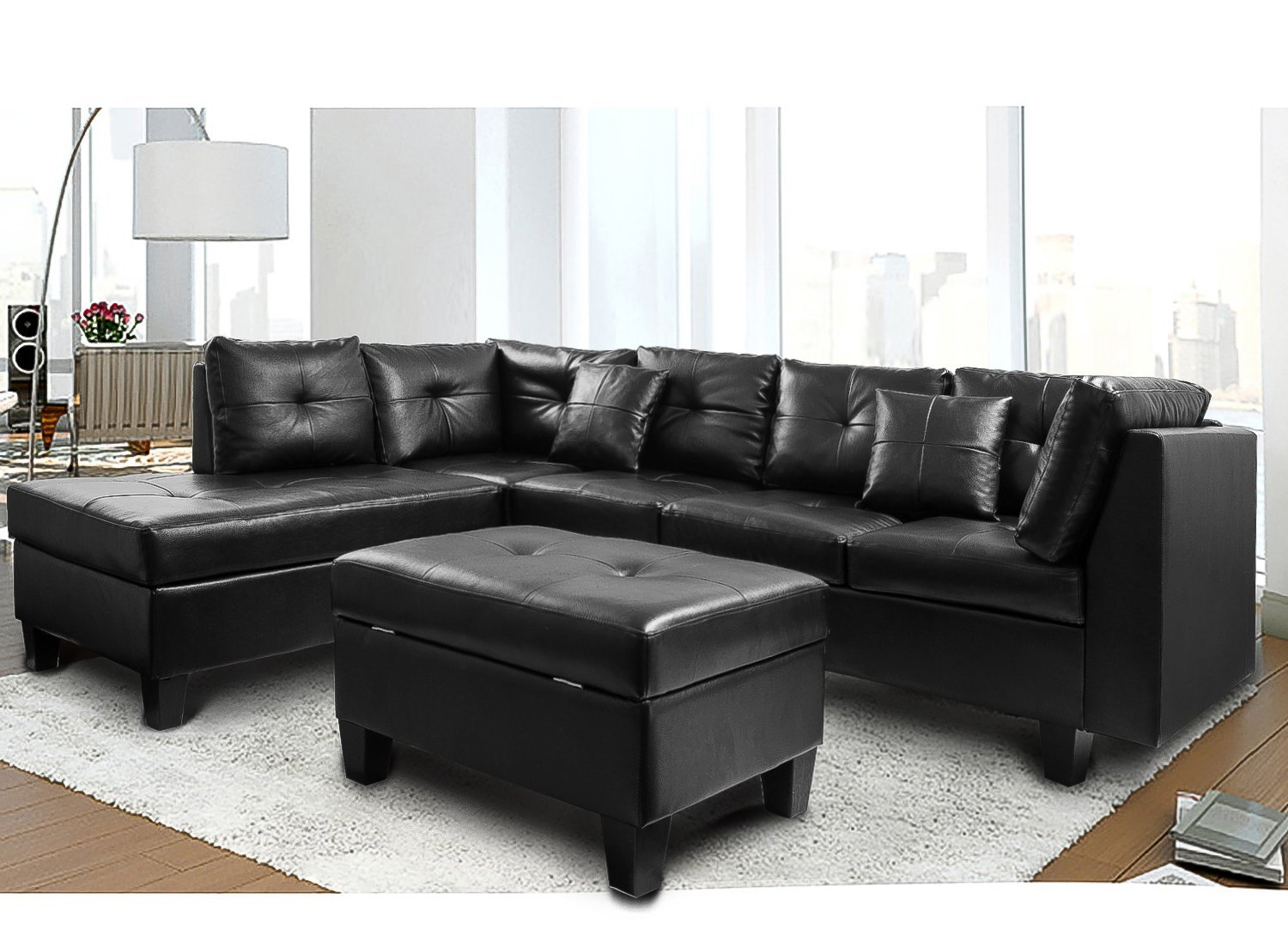 Charmant Harper U0026 Bright Designs Sectional Sofa With Chaise And Storage Ottoman,  Black