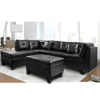 Product Image Harper Bright Designs Sectional Sofa With Chaise And Storage Ottoman Black