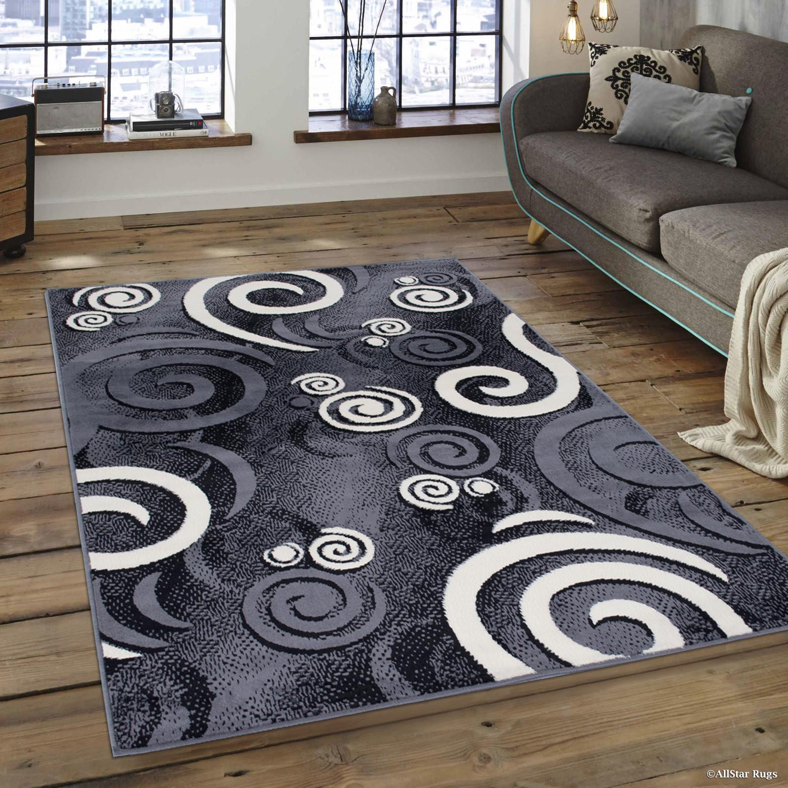 Allstar Grey Area Rug Contemporary Abstract Traditional Formal