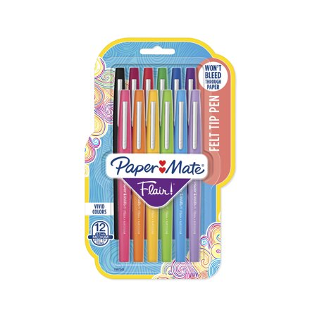 Paper Mate Flair Felt Tip Pens, Medium Point, Assorted Colors, 12