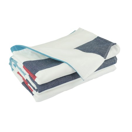 100% Cotton , Three layers woven,breathable and absorbs moisture Quilted Throw Blanket  (Red White and Blue Stripes)