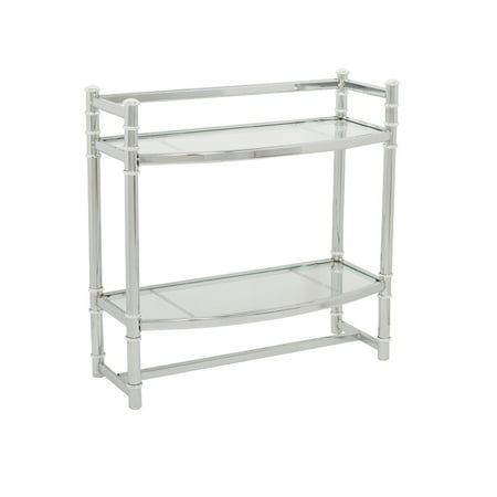 Zenna Home Wall Shelf, in Chrome, with Tempered Glass Shelves