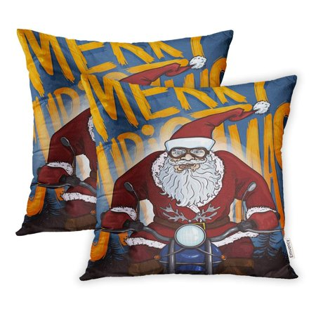 USART Cartoon Biker Santa Claus on Motorcycle Text Merry Christmas Pillow Case Pillow Cover 16x16 inch Set of