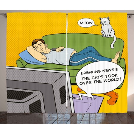 Vintage Curtains 2 Panels Set, Man Lying on Couch Watching TV Cats Take Over World Comic Book Pop Art Illustration, Window Drapes for Living Room Bedroom, 108W X 96L Inches, Multicolor, by (Best Sofa For Watching Tv)