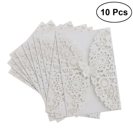 40th Wedding Anniversary Invitations - 10pcs Vertical Butterfly Invitations Cards Kits for Wedding Bridal Shower Birthday + 10pcs Envelope (White)