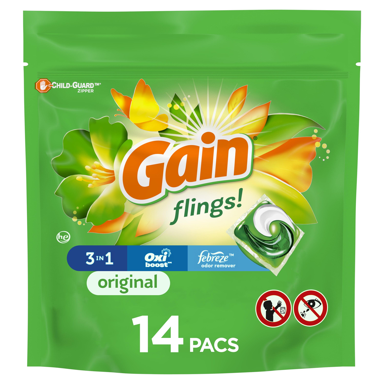 Gain Flings Original Scent, 14 Ct Laundry Detergent Pacs