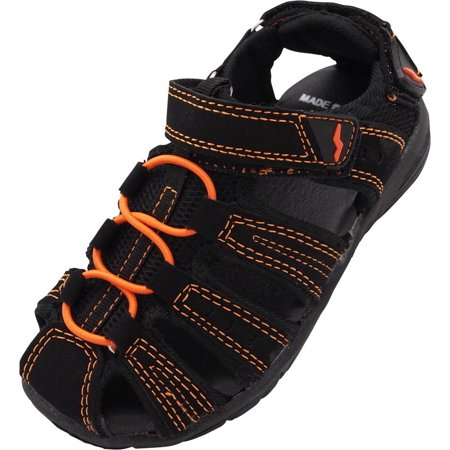 Norty  Boys & Girls Toddler/Little Kid/Big Kid Athletic Outdoor Summer Sandals - Runs 1 Size Small, 40559 Black/Orange / 10M - Girls Jeweled Sandals