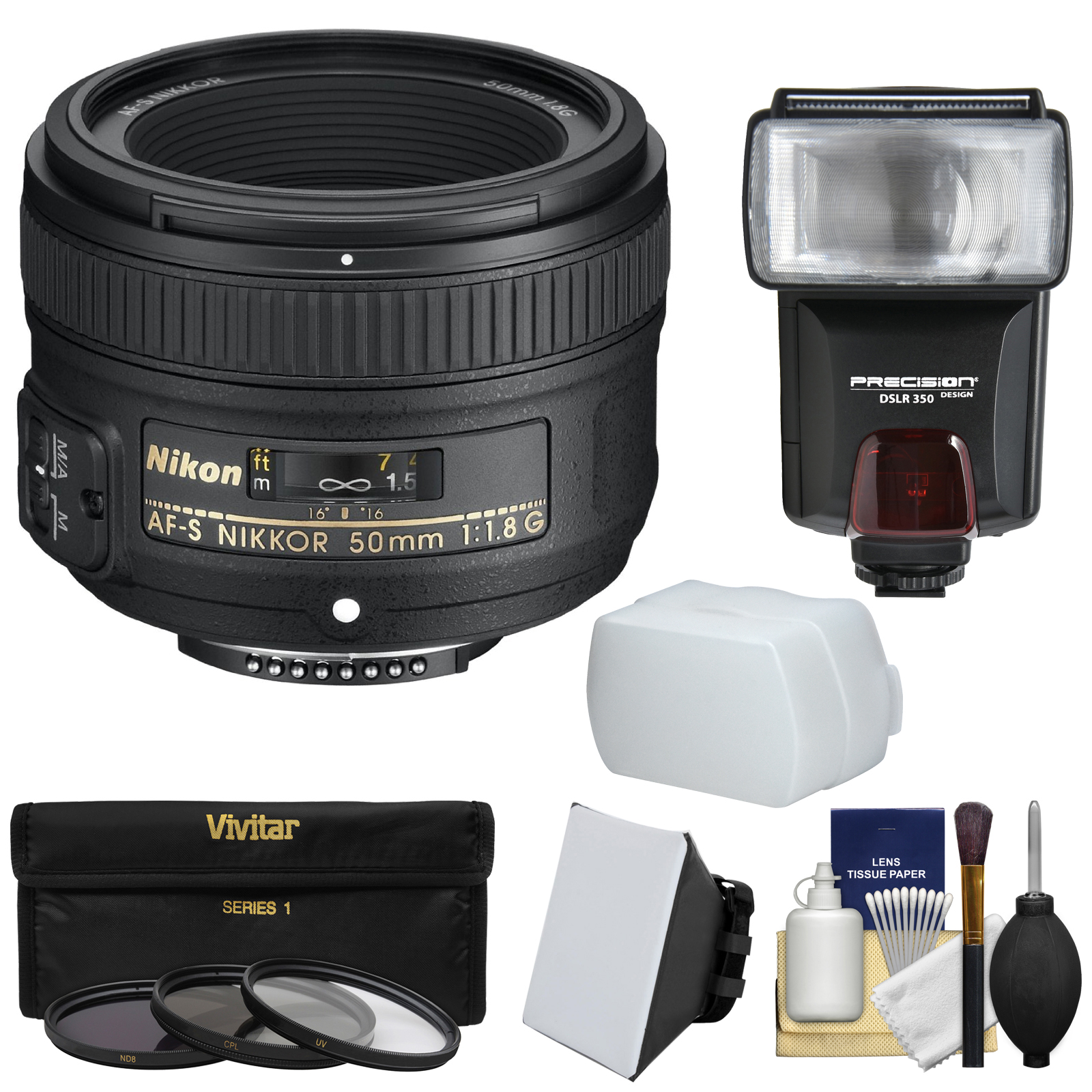 Nikon 50mm f/1.8G AF-S Nikkor Lens with 3 Filters + Flash & 2 Diffusers + Kit for D3200, D3300, D5300, D5500, D7100, D7200, D750, D810 Cameras