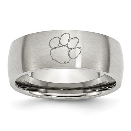 Stainless Steel Clemson University Laser Etch Ring