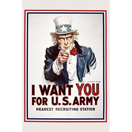 Uncle Sam Poster I Want You For US Army - Vintage New - Personalized Wanted Poster