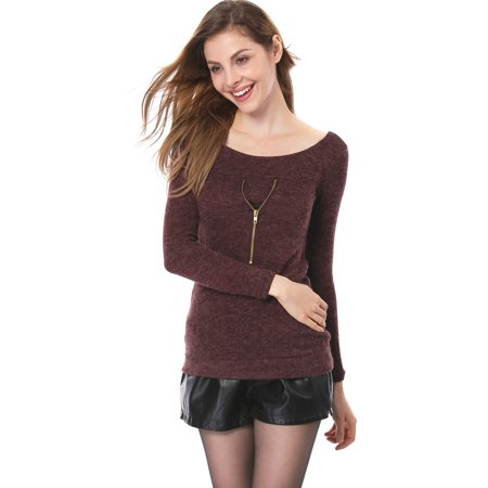 Classic Ribbed Pullover - Women's Ribbed Pullover Knit Shirts Red (Size L / 12)
